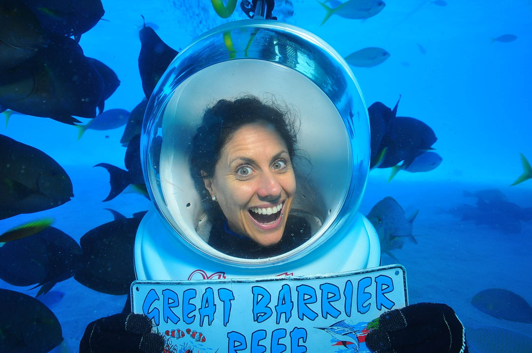 Shelley in the big blue on the Great Barrier Reef